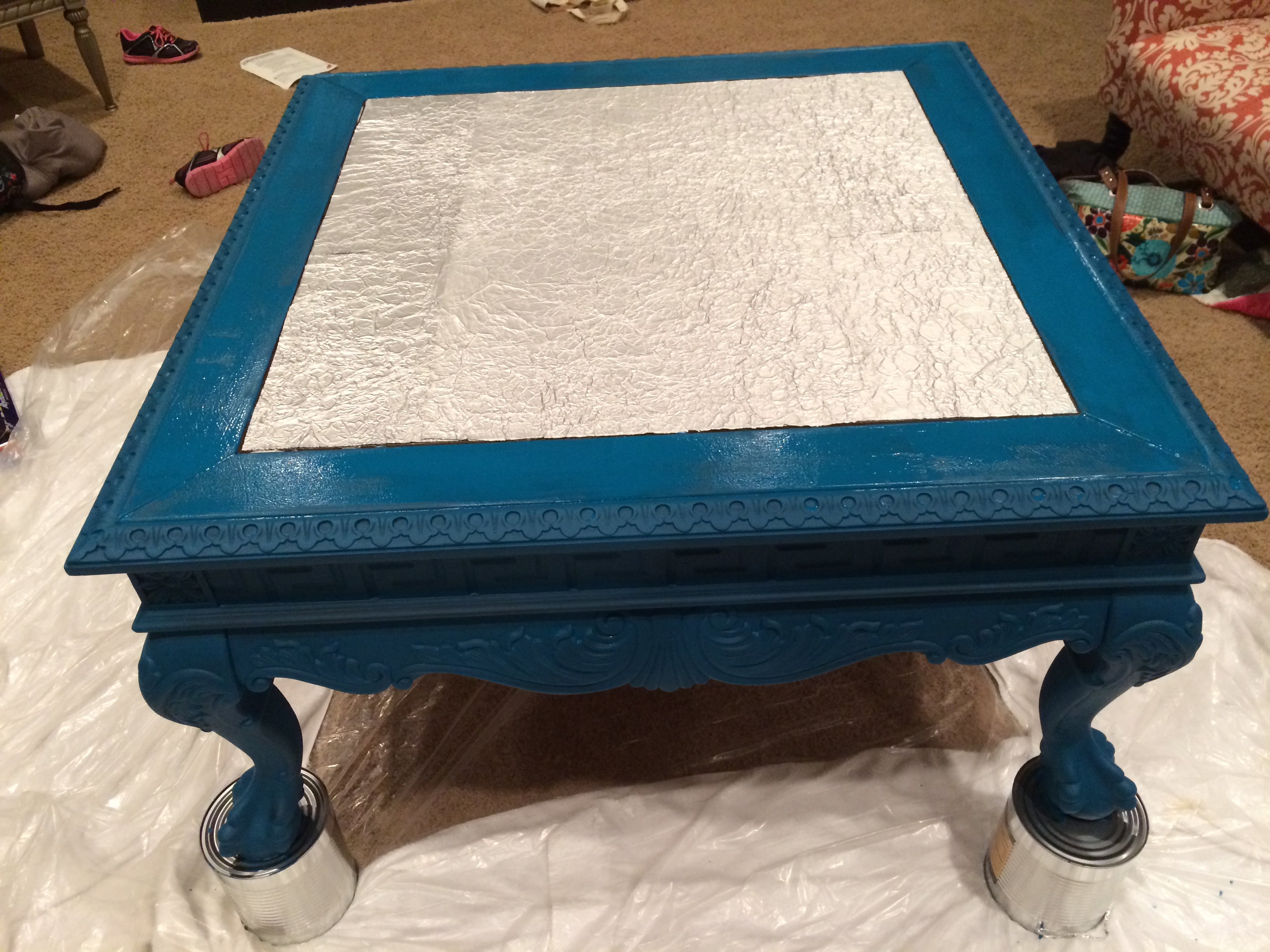 Tuesday Treasures Coffee Table Makeover with Aluminum Foil