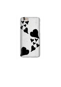 6s Floating black hearts on white wood Mockup