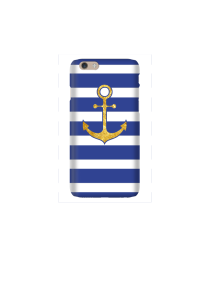 6s Gold Anchor on navy & white stripes Mockup