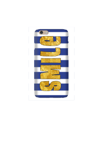 6s Gold Smile on navy & white stripes Mockup