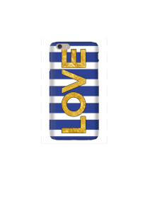6s LOVE gold on navy & white stripes Mockup
