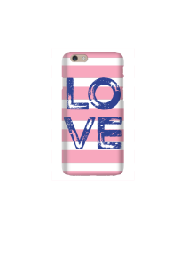 6s LOVE Navy SQUARE on Pink White Stripe Mockup