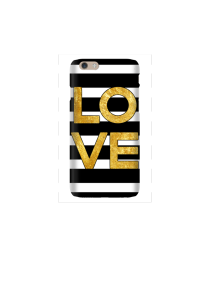 6s LOVE Square gold on b&w stripes Mockup