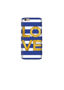 6s LOVE Square gold on navy & white stripes Mockup