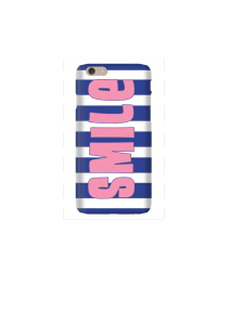6s Pink Smile on navy white stripes Mockup