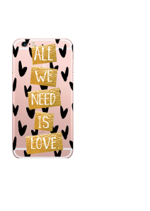 iPhone 6S All We Need Is Love Gold Blocks Black Hearts