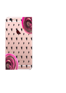 iPhone 6S Black Hearts Pink Roses Watercolor