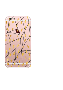 iPhone 6S Black Lines Gold Dots Watercolor