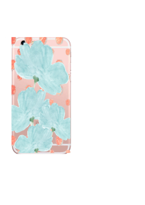 iPhone 6S Blue Flowers Coral Dots Watercolor