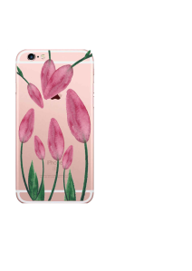 iPhone 6S Blush Tulips Green Leaves Watercolor