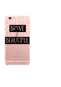 iPhone 6S Brave & Beautiful Black on Coral Dots