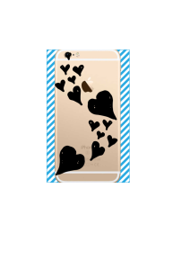 iphone 6s Floating Black Hearts on gold iPhone clear Mockup