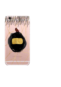 iPhone 6S Gold Bar Black Swirl Watercolor