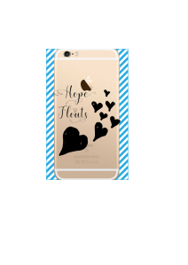 iphone 6s Hope Floats Black Hearts on gold iPhone clear Mockup