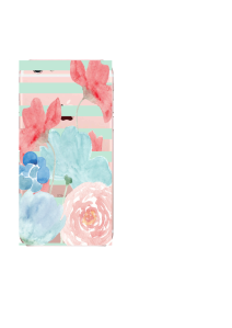 iPhone 6S Mint Clear Stripes Pink Blue Bouquet Watercolor