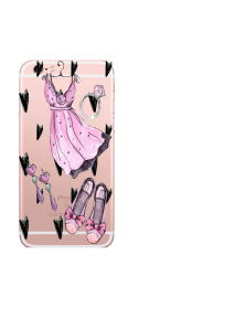 iPhone 6S Pink Dress Black Hearts Accessories Watercolor