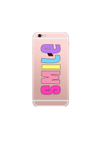 iphone 6s SMILE pastel rainbow on rose gold iPhone clear Mockup