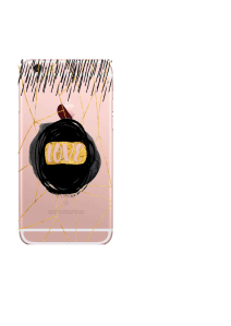 iPhone 6S Transparent Love on Gold and Black Swirl Watercolor
