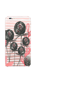 iPhone 6S White Stripes Black Pink Roses