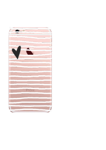 iPhone 6S White Stripes Charcoal Heart